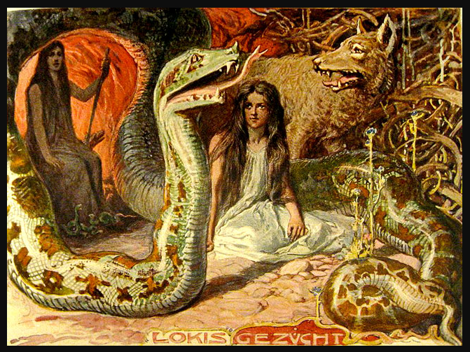 painting of a woman sitting between a snake and a wolf with another woman behind the snake