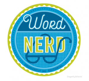 """a blue and green sticker that says """"word nerd"""""""