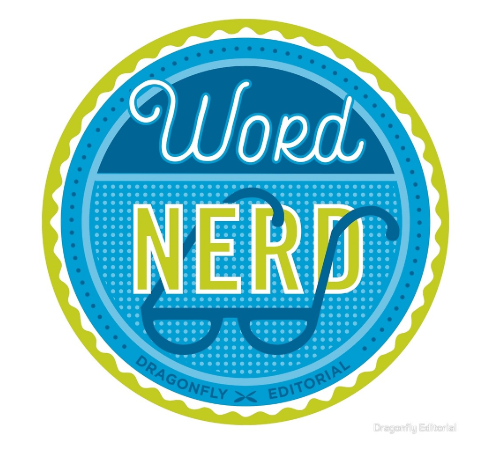 "a blue and green sticker that says ""word nerd"""